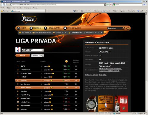 Juego manager NBA. Liga JGBasket - Basketspirit en Basketvoice