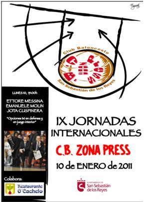 Cartel IX Clinic para entrenadores Zona Press. Ettore Messina, Enmanuel Molin y Jota Cuspinera